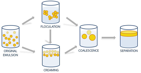 Main nanoemulsion destabilization pathways.