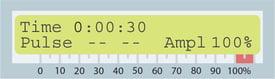LSP-500 screen amplitude reading at 100 percent