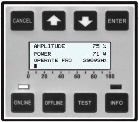 Power reading screen isp-3000 ultrasonic processor 75 percent