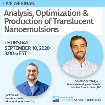 Live webinar: Analysis, Optimization and Production of Translucent Nanoemulsions