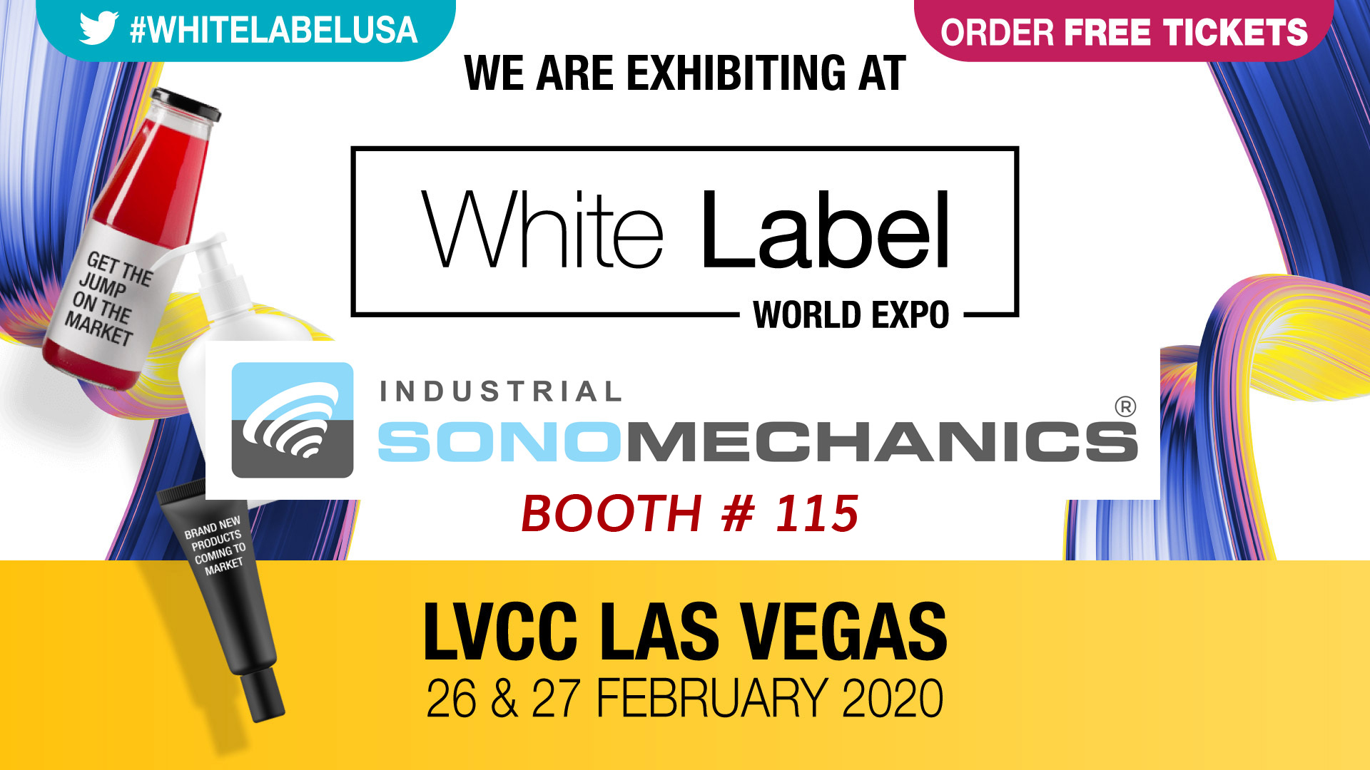Industrial Sonomechanics' booth 115 at the White Label Expo in Las Vegas